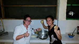 Crystal and Sareth from Colombia making bolognase for dinner