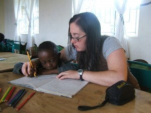 President, Crystal Steinmueller, a volunteer at a school in Tanzania