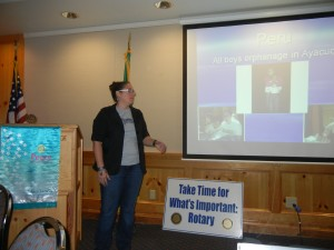 Crystal sharing volunteerism stories with the Sunrise Rotary Club