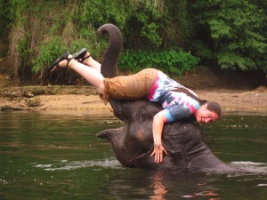 Crystal bathing 5 year old elephant, Johnny. Elephants World, Kanchanaburi, Thailand.