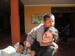 Crystal with the boys at the orphanage. Ayacucho, Peru.