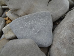 Crystal leaving her sisters name along the river bed
