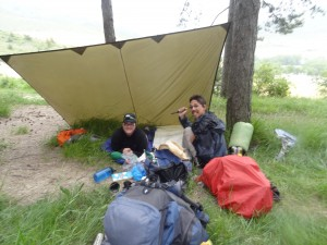 Crystal and Ondrey camping outside of Arre