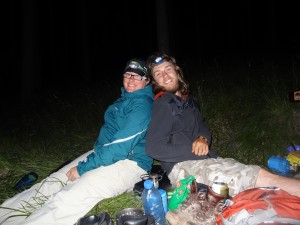 Crystal and Gareth rockin' their headlamps