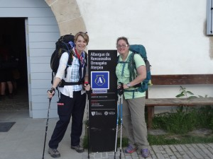 Jodi and Crystal leaving the albergue in Roncesvalles