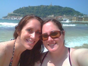 Crystal and Janine on the beach of San Sebastian