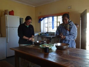 Peeling sweet potatoes at a Zambian Orphanage