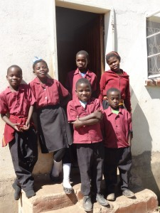 The kids in their school uniforms at an orphanage in Zambia.