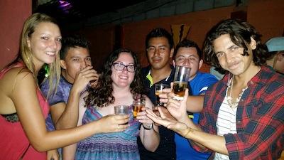 Celebrating with drinks in San Cristobal