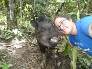 Selfie with Navi, a tapir,  who was raised by volunteers at the center.