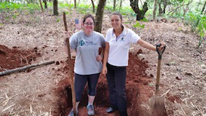 A VolunTravel project in San Cristobal Galapagos digging a compost pit